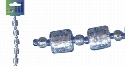 Beadchain vierkant/rond 17 cm. l.blauw