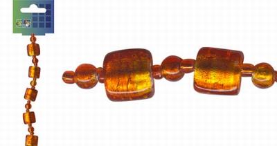 Beadchain vierkant/rond 17 cm. oranjerood