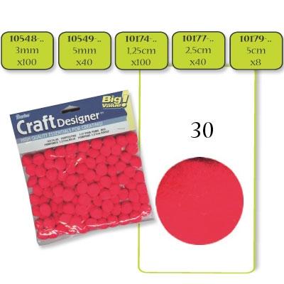 Pompon 2,5 cm. 40 st. rood