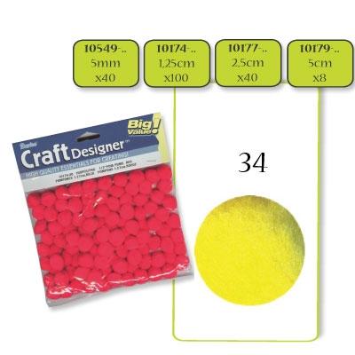 Pompon 5 mm. 40 st. geel