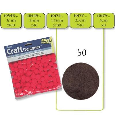 Pompon 3 mm. 100 st. bruin