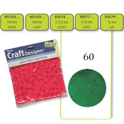 Pompon 3 mm. 100 st. groen