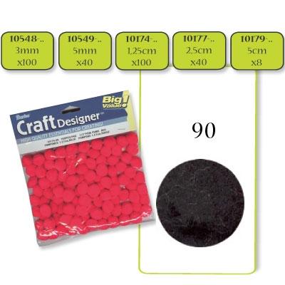Pompon 3 mm. 100 st. zwart