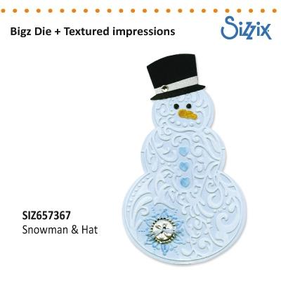 Sizzix Bigz Die textured impressions snowman & hat
