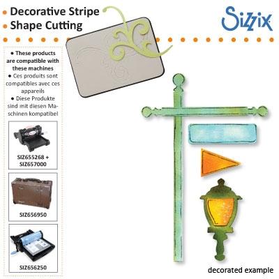 Sizzix Sizzlits decorative strip die flagpole lantern