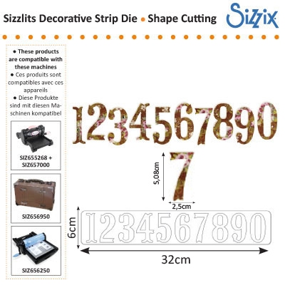 Sizzix BW sizzlits decorative strip die antiqua numbers