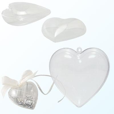 Plastic hart 2 delig, transparant, 60 mm