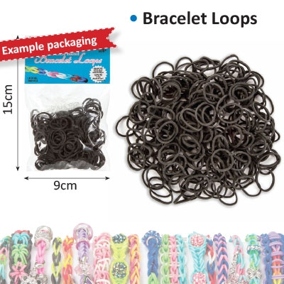 Bracelet loops x300 + S-clips x12 black