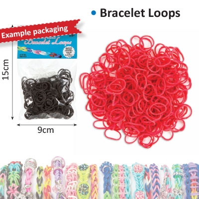 Bracelet loops x300 + S-clips x12 red