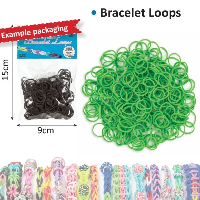 Bracelet loops x300 + S-clips x12 green