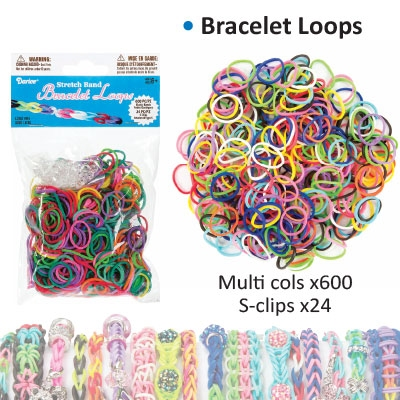 Bracelet loops x600 + S-clips x24 assorted