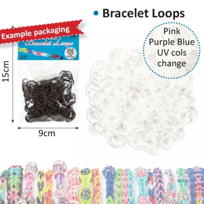 Bracelet loops x300 + S-clips x12 UV color change