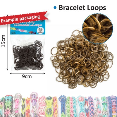 Bracelet loops x300 + S-clips x12 gold metallic