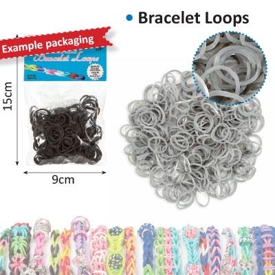 Bracelet loops x300 + S-clips x12 silver metallic