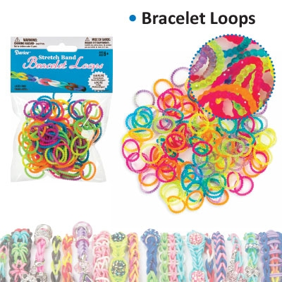 Bracelet loops bead style x150 + S-clips x6 assorted transp.
