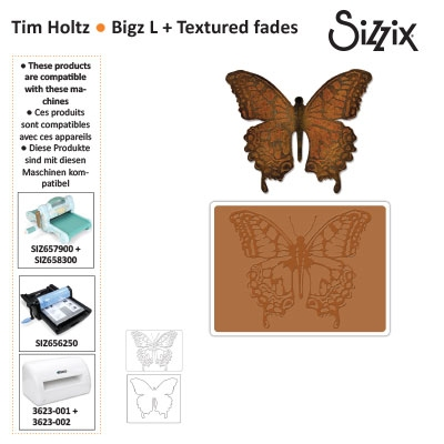 Sizzix bigz die with texture fades layered butterfly