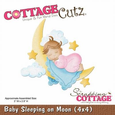 CottageCutz Baby Sleeping on Moon (4x4) (CC4x4-579)