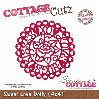 CottageCutz Sweetheart  Sweet Love Doily (4x4) (CC4x4-561)