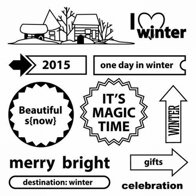 Set Of Clear Stamps 10,5x10,5 cm Happy Holiday I Love Winter