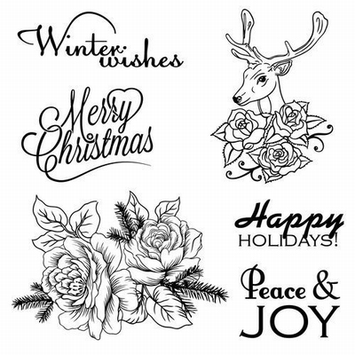 Set Of Clear Stamps 10,5x10,5 cm Winter Joy Peace And Joy