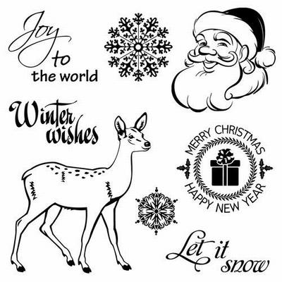 Set Of Clear Stamps 10,5x10,5 cm Winter Joy Xmas Deer