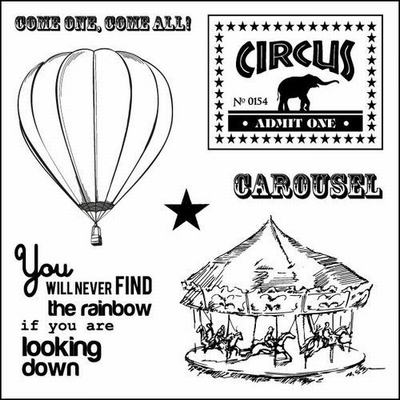 Set Of Clear Stamps 10,5x10,5 cm Vintage Circus Carousel