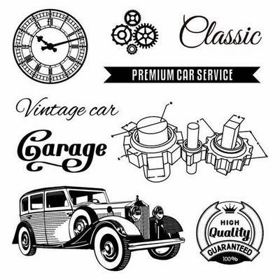 Set Of Clear Stamps 10,5x10,5 cm Auto Vintage Garage