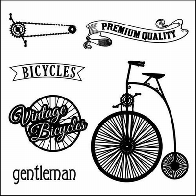 Set Of Clear Stamps 10,5x10,5 cm Auto Vintage Bicycles