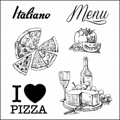 Set Of Clear Stamps 10,5x10,5 cm Discover Italy Menu