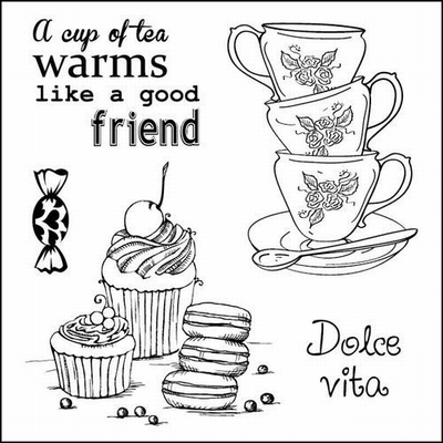 Set Of Clear Stamps 10,5x10,5 cm Afternoon Tea Dolce Vita