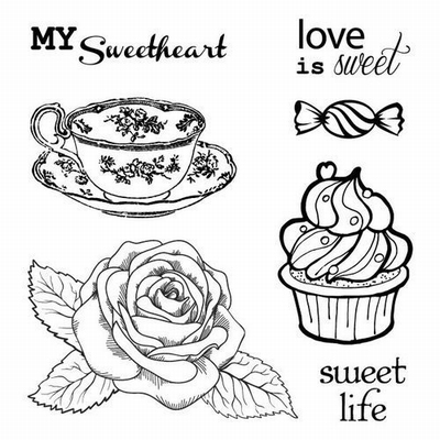 Set Of Clear Stamps 10,5x10,5 cm Afternoon Tea Dessert