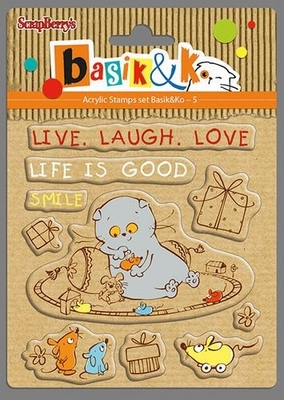 Set Of Clear Stamps 10,5x10,5 cm Basik Live Laugh Love