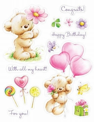Set Of Clear Stamps 14x18 cm My Little Bear With Toy Balloon