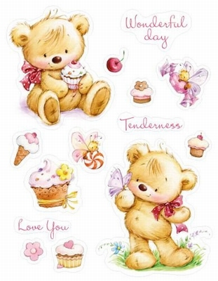 Set Of Clear Stamps 14x18 cm My Little Bear With Cupcakes
