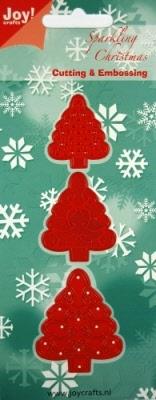 6002/2002 Cutting & Embossing stencil 3 kerstbomen
