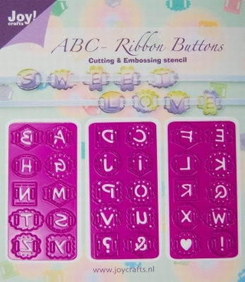 6002/0205 Cutting & Embossingstencil - ABC Ribbon buttons