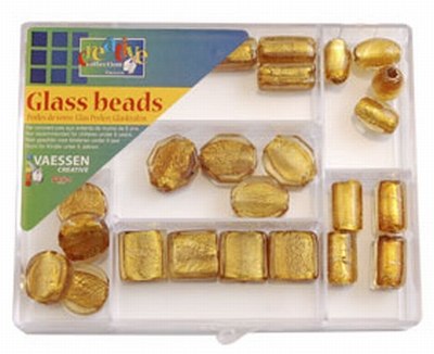Silver foil beads kit 27 st. assort goud