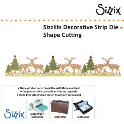 Sizzix BW sizzlits decorative strip die woodland deer