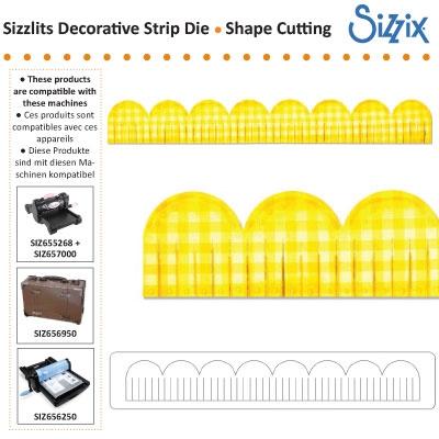 Sizzix sizzlits decorative strip die scallop fringed