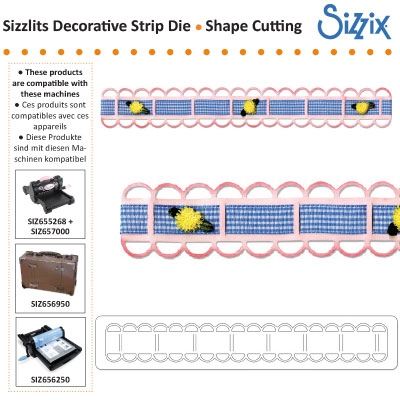 Sizzix sizzlits decorative strip die ribbon threader