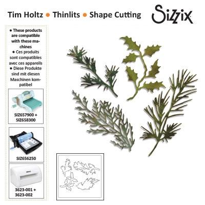 Sizzix thinlits die set x4 holiday greens