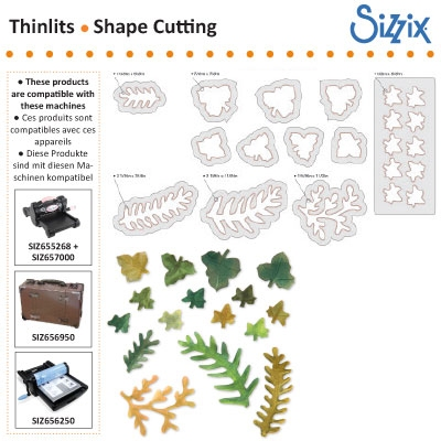 Sizzix SG thinlits dies leaves fern ivy