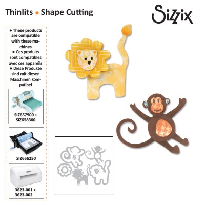 Sizzix thinlits die set 8pk lion & monkey