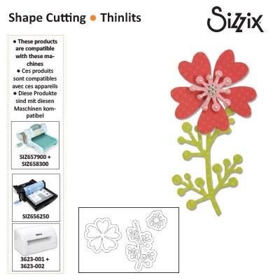 Sizzix thinlits die set x3 flower with heart petals