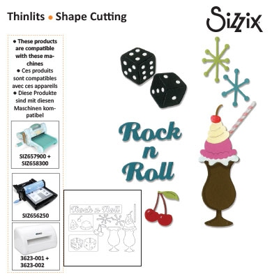 Sizzix thinlits die set 9pk rock 'n roll