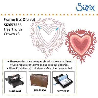 Sizzix Framelits die Frame, heart w/crown