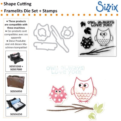 D Sizzix Framelits die set with stamps 6pk autumn owls