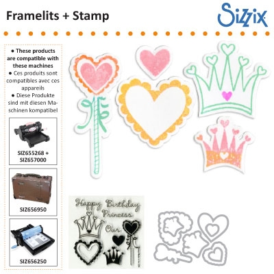 D Sizzix framelits die set 8pk with stamps princess