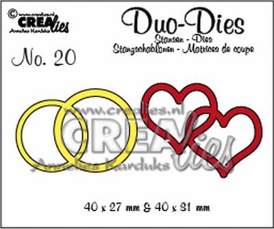 Duo Die no. 19 dubbele ring en hart CLDD19 / 4x2,7 4x3,1 cm