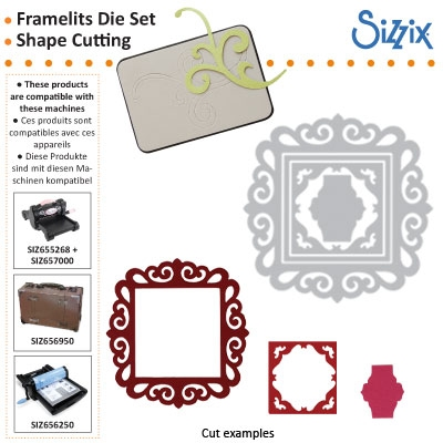 Sizzix Framelits die set 3pk fancy square frame